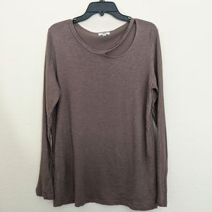 LNA | Split Neck Long Sleeve Heathered Brown Shirt